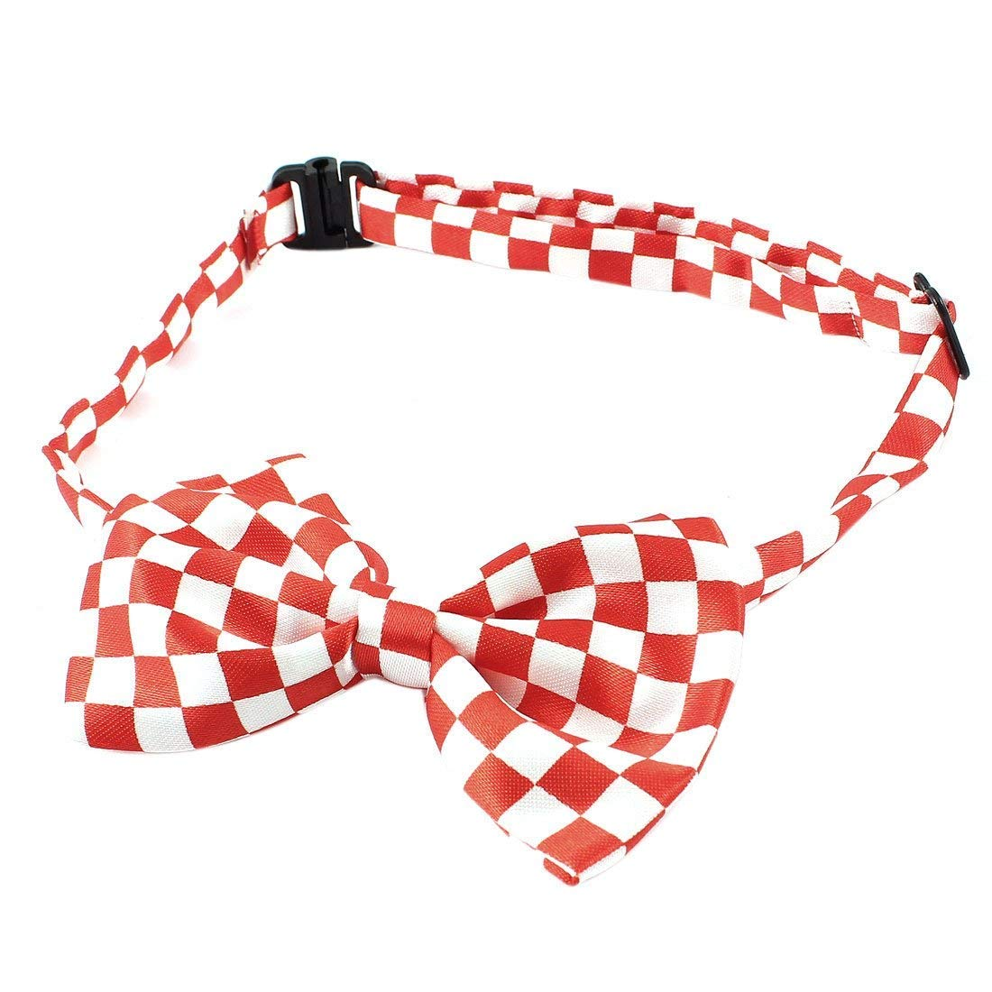 1Pc Grid Printed Pet Dog Adjustable Strap Bowknot Bowtie Red White