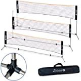 Portable Tennis Net,Stainless Steel Poles Badminton Net Set –Adjustable Height Nylon Net with , Carry Bag, for Kids…