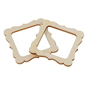Anbau 20 Pieces 50x50mm Square Wooden Shape Vintage DIY Cutouts Wooden Frame Mini Photo Frame for Scrapbooking Crafting DIY Wind Chimes Wedding Home Decorations
