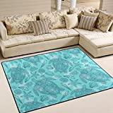 ALAZA Sea Shells Turtle Starfish Corals Bubbles Kids Area Rug,Marine Animal Non-Slip Floor Mat Soft Resting Area Doormats for Living Dining Bedroom 5.3' x 4'