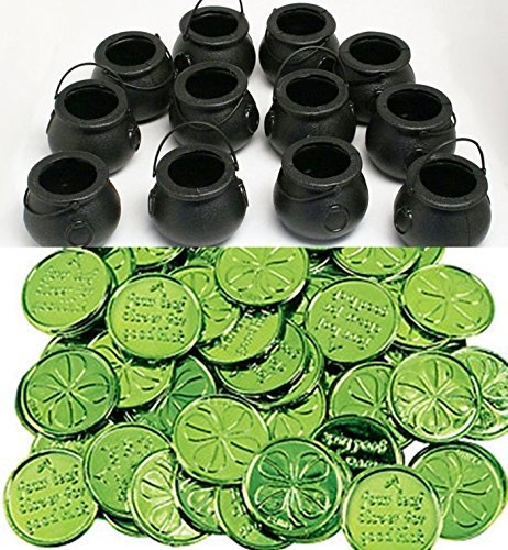 happy deals 12 Mini Cauldron Kettles Cups + 24 Shamrock Coins - St. Patrick's Day Favors and Decorations