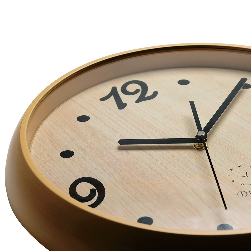 DreamSky 12'' Decorative Wall Clock, Non-Ticking, Battery Operated Quartz Analogy Wall Clocks for Living Room/Kitchen/Classroom/Office, Cultured Wood Style. by DreamSky (Image #1)