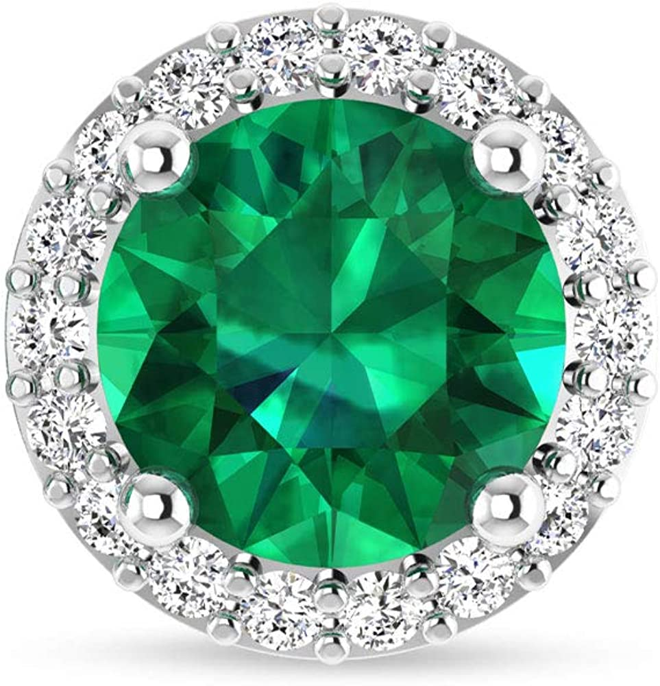 Pendientes de boda con piedras preciosas esmeralda, certificado IGI, diamante redondo, IJ-SI, claridad de color, halo, pendientes, para dama de honor, tornillo hacia atrás