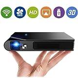 モバイル プロジェクター ミニ 2.4/5G WiFi 3600 ルーメン 1080PフルHD対応 DLP 小型 プロジェクター 自動台形補正 3D 充電式バッテリー内蔵 HDMI / USB/AV ソコン/スマホ/タブレット/ゲーム機/DVDプレイヤーなど接続可能 ホームプロジェクター