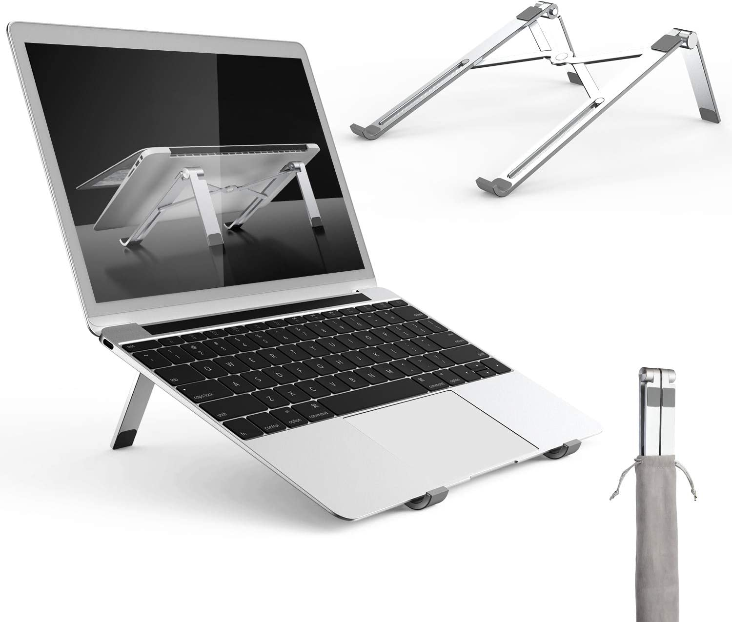 Adjustable Laptop Stand, Portable Aluminum Notebook Holder Riser Foldable Desktop MacBook Stand Compatible with Notebook, HP, Dell, IBM, iPad Tablet