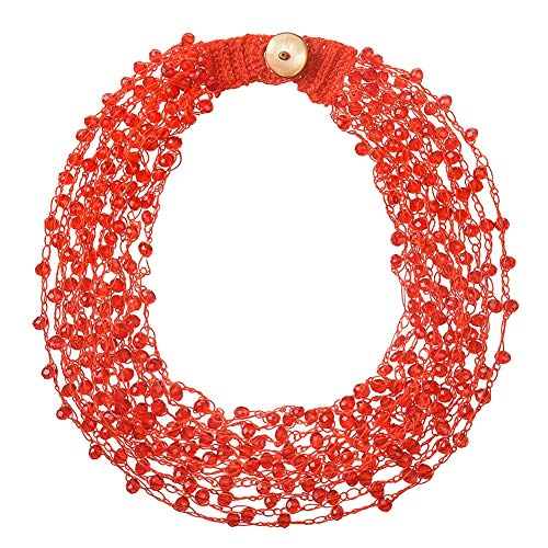 Silvstoneser Multilayer Handwoven Crystal Beads Bib Necklace Statement Choker Chunky Colorful Glass Beads for Women Girl