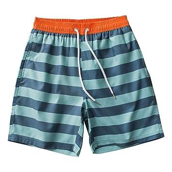 HMKYYJ Pantalones Cortos de Bolsillo de Playa a Rayas para Hombre ...