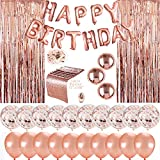 Kubert Birthday Decorations - Birthday Party Supplies Party Decorations Balloons Rose Gold Happy Birthday Banner Confetti Balloons