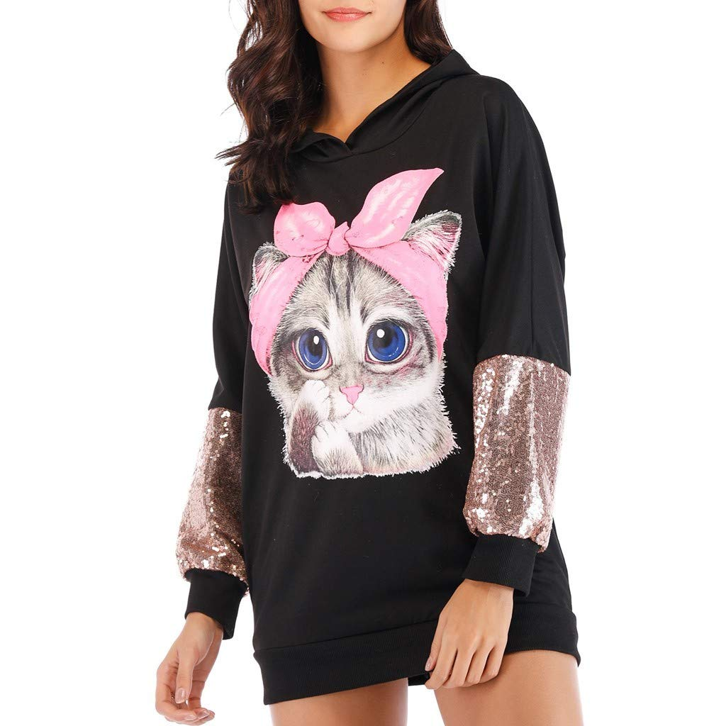 Rishine Women's Long-Sleeved O-Neck Cute Cat Print Stitching Hooded Casual Shirt Top Black