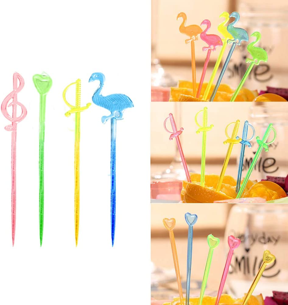 Fenghan 250pcs Cocktail Picks,Food Picks Toothpicks For Appetizers Skewers, Fancy Party Decorative Colored Cheese Drink Fruit Long Plastic Skewers For Kids