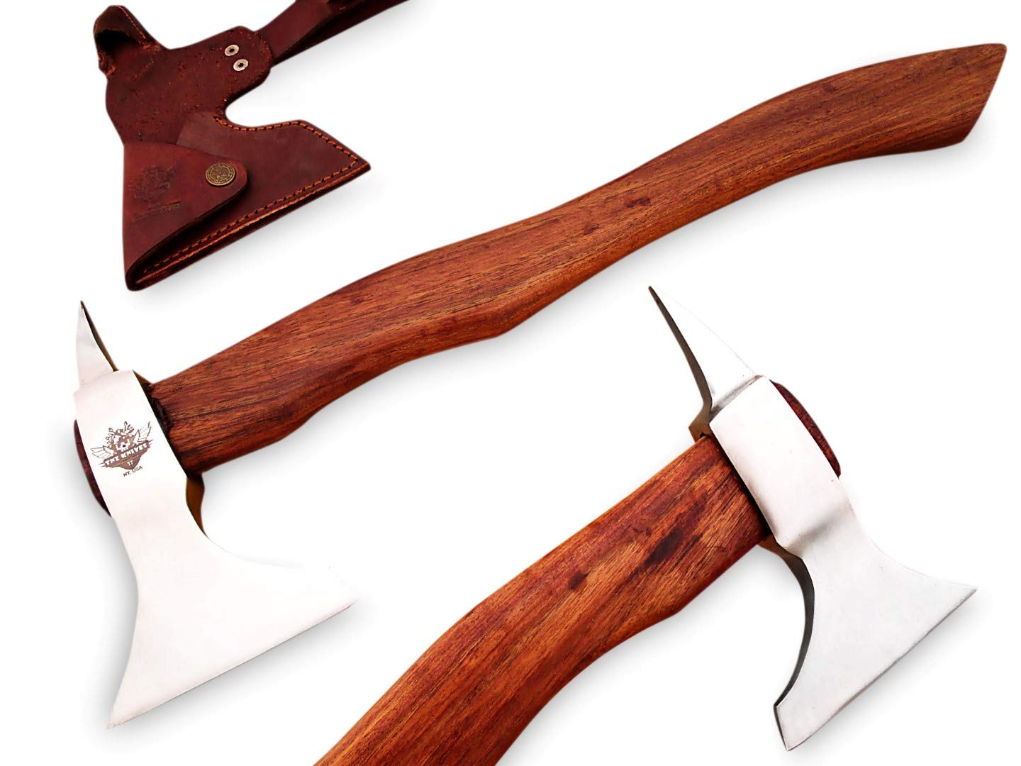 TNZ-616 High Carbon Axe 18 Long Hunting Camping Axe High Carbon Hatchet Viking Long Bearded Axe Leather Cover TNZ Hand Made High Carbon Knives