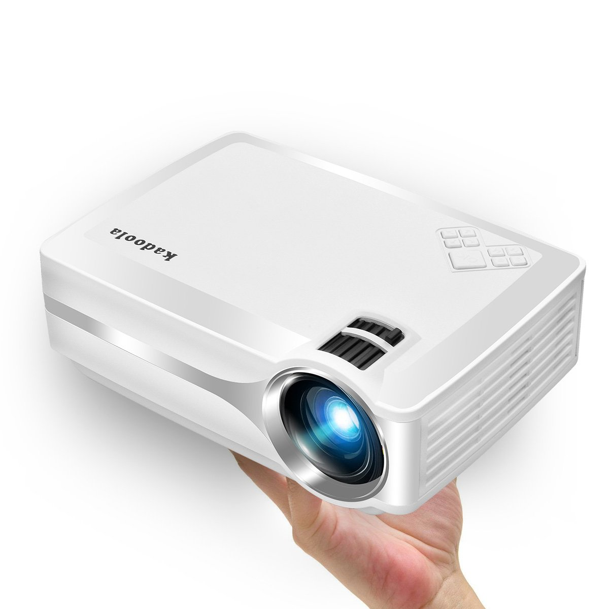Mini Projector, Kadoola 2000 Lumens Pico Projector Support 1080P HDMI USB SD AV VGA Audio for Movie, TV, Xbox & More HDMI-Enabled Devices with Free HDMI Cable - White