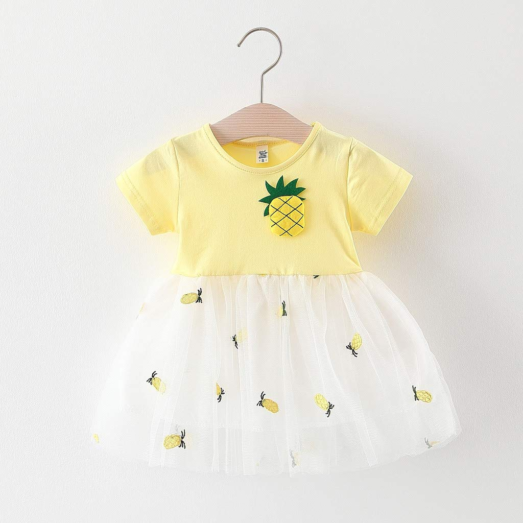 Sameno Toddler Baby Girls Pineapple Patchwork Tulle Short Sleeve Skirt Party Princess Dresses Summer Outfit Clothes