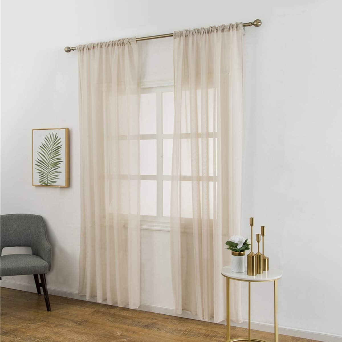 VOSAREA - Cortinas de gasa de algodón y lino con textura fina para ...