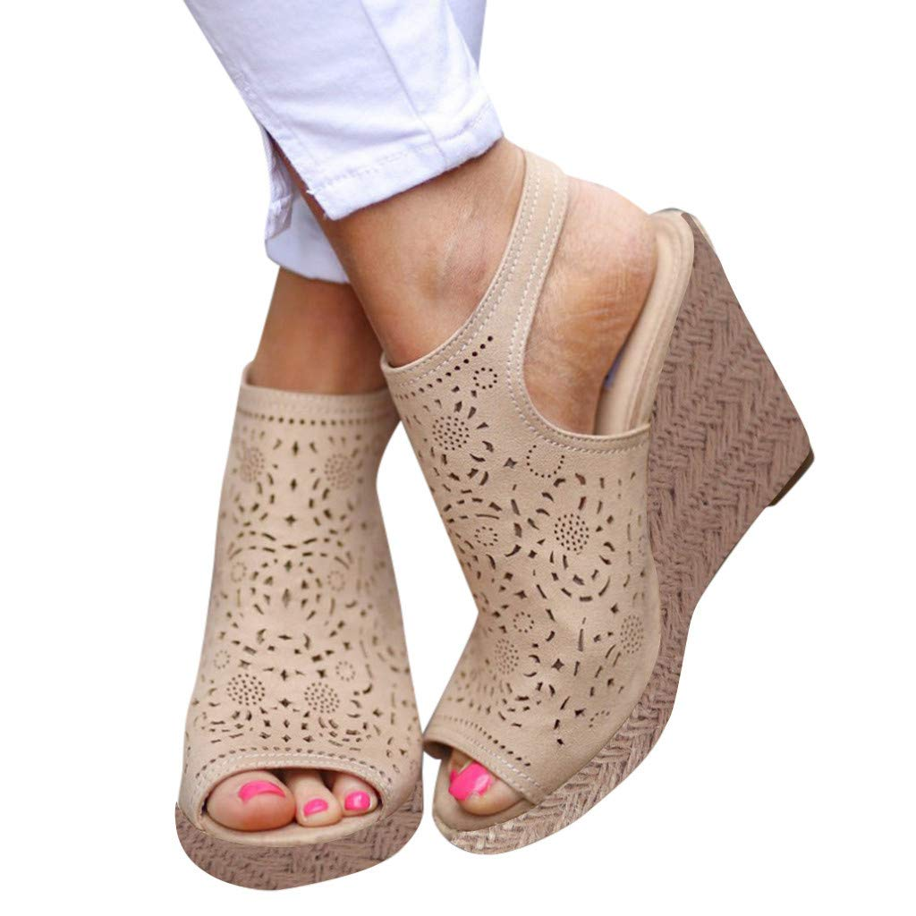 LUCAMORE Womens Fashion Hollow Wedges Peep Toe Straw Thick Bottom Shoes Roman Sandals by LUCA-Sandals (Image #2)