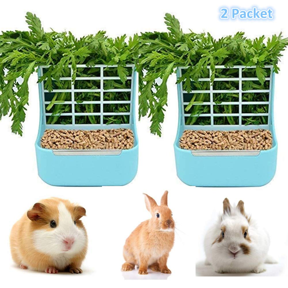 STKYGOOD Rabbit Feeder Bunny Guinea Pig Hay Feeder,Hay Guinea Pig Hay Feeder,Chinchilla Plastic Food Bowl (2 Blue)