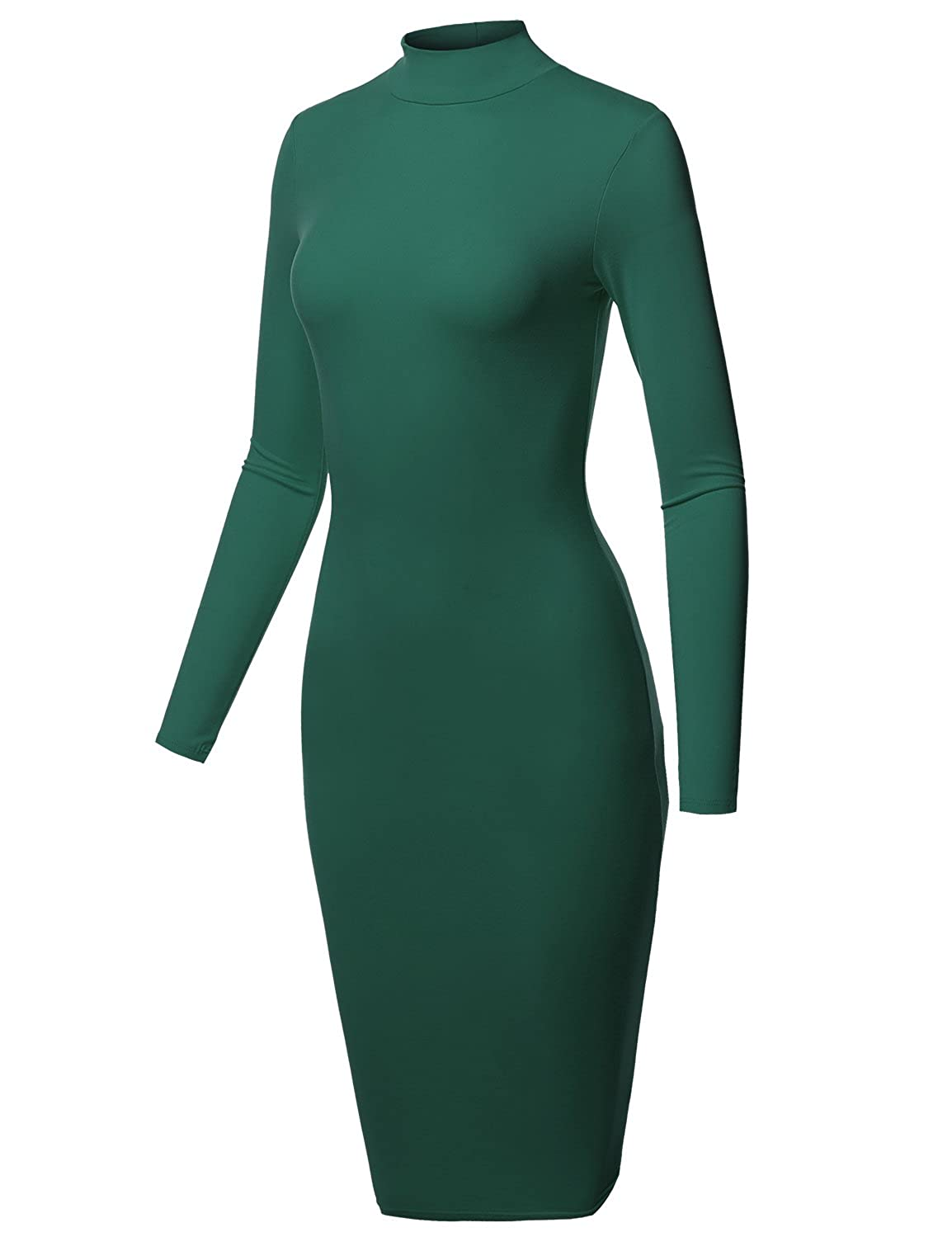 Aawdrm0003 Hunter Green Awesome21 Women's Sexy Long Sleeves High Neck Mini BodyCon Dress  Made in USA