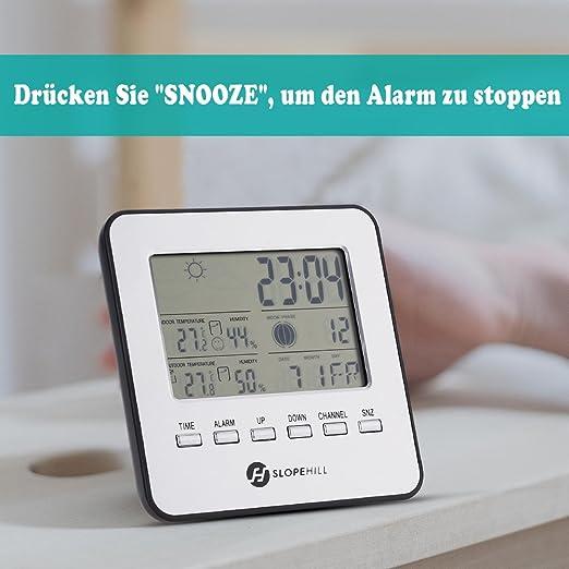 slopehill Estación Meteorológica Inalámbrica, Termómetro Higrómetro con 433MHz Sensor Externo Función del Reloj, Despertador Alarma, Calendario, Pronóstico, ...