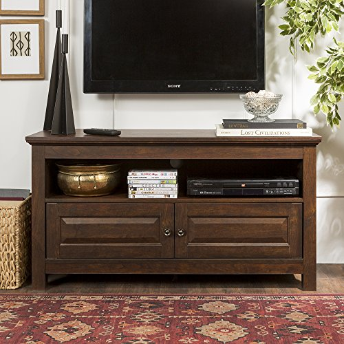 tv console traditional brown finish