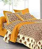 Uniqchoice Jaipuri Print 100% Cotton Rajasthani Tradition King Size Double Bedsheet With 2 Pillow Cover(Yellow Color)