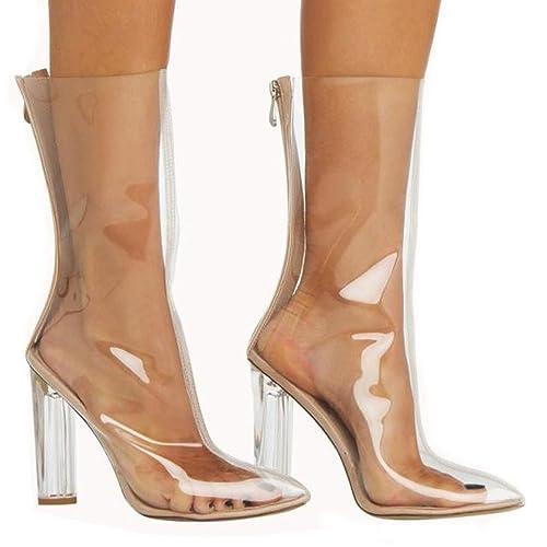 ca10301644f CCBubble Block Heels Transparent Women Shoes 2018 Mid Calf Clear Shoes  Women-Clear US5
