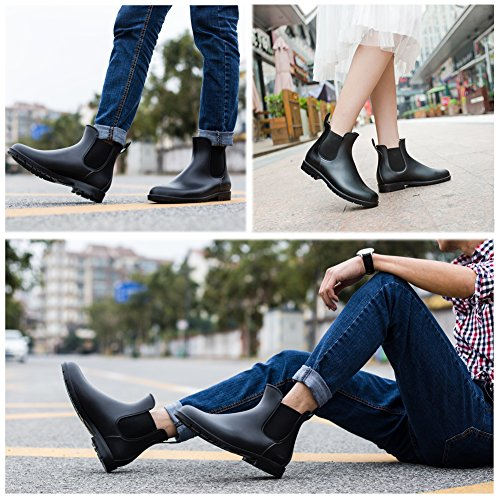 Colorxy Elastic Rain Ankle Fashion Waterproof Slip Boots Short Booties Chelsea Women's Black Anti Slip On Booties Rain ABrWTqnxA