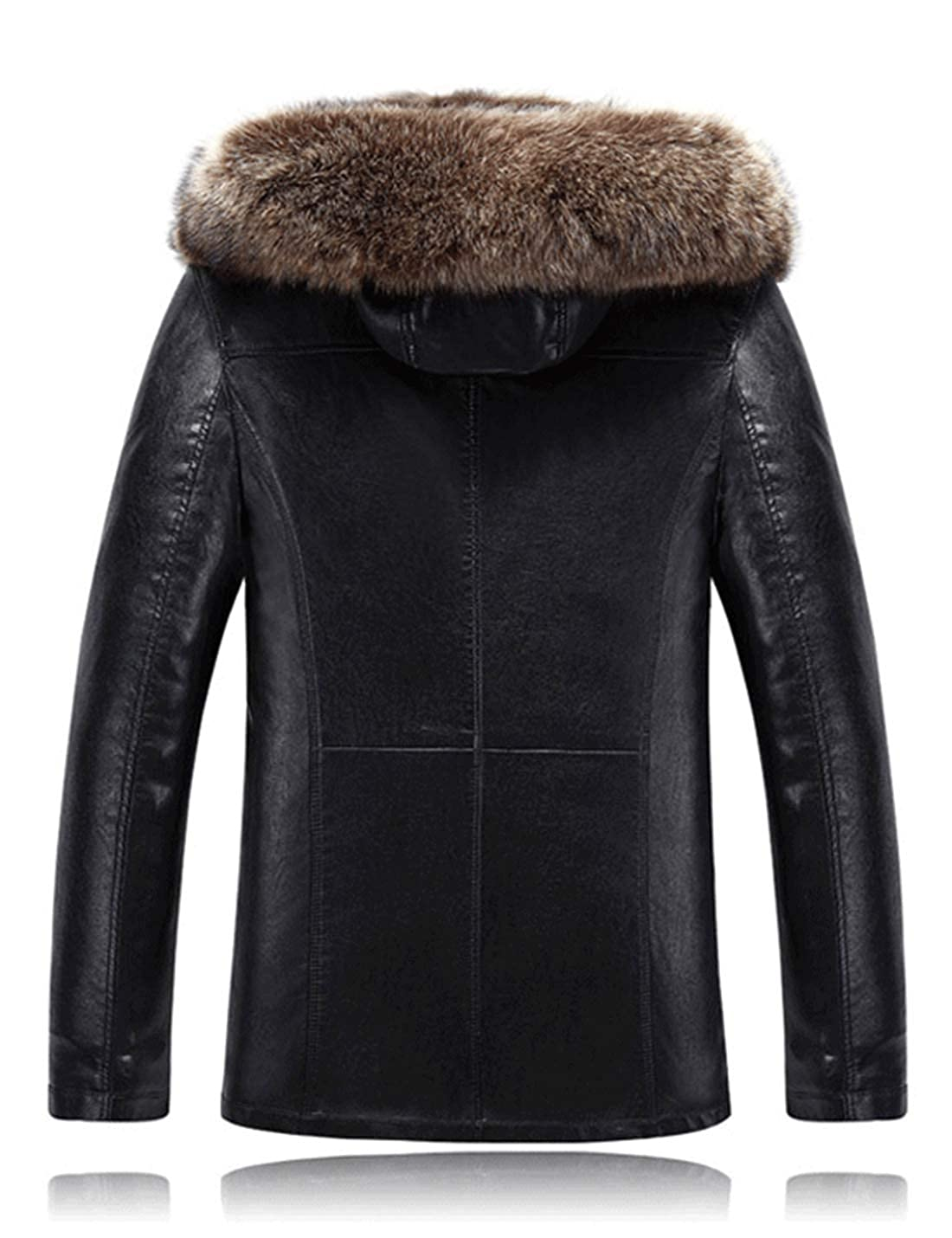 2216c9b1fd2 Tanming Men s Winter Hooded Raccoon Fur Collar Sherpa Lined PU Leather  Jackets at Amazon Men s Clothing store