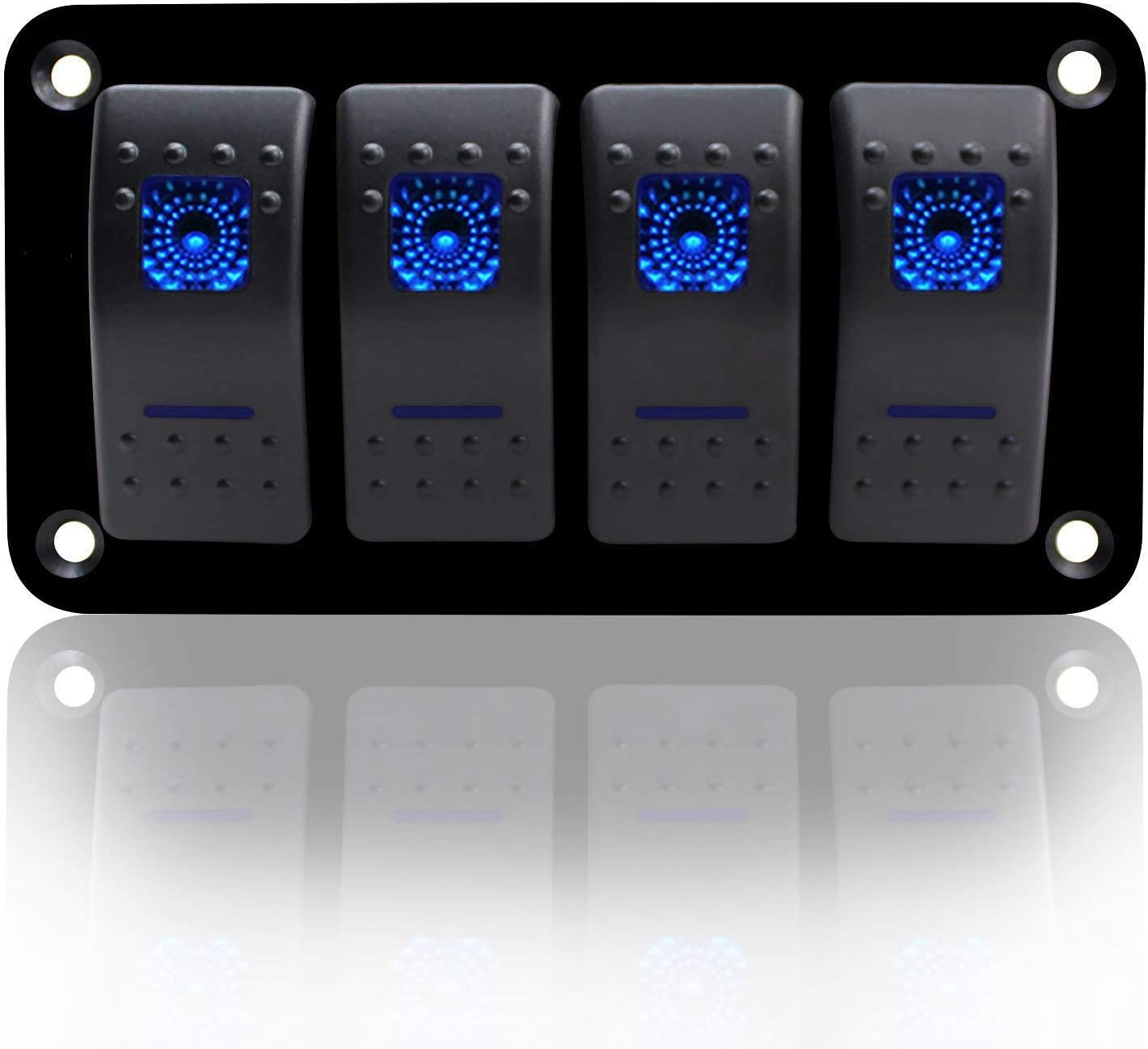 MKING Marine Rocker Switch Aluminum Panel 2/4/6 Gang Blue Toggle Switches 5 Pin ON/Off LED for Boat Car Marine