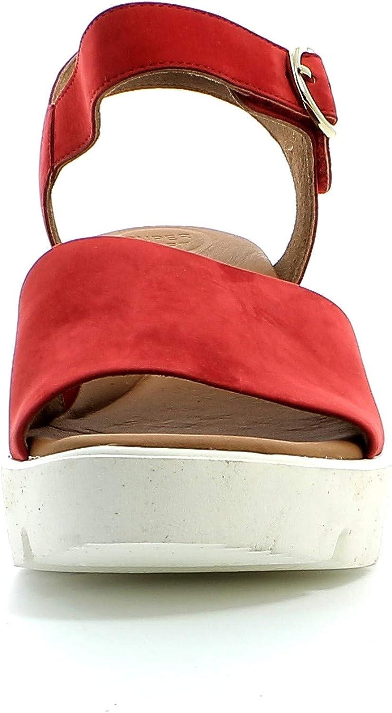 Paul Green Femme Sandales 7366, Dame Sandales compensées Rouge Red