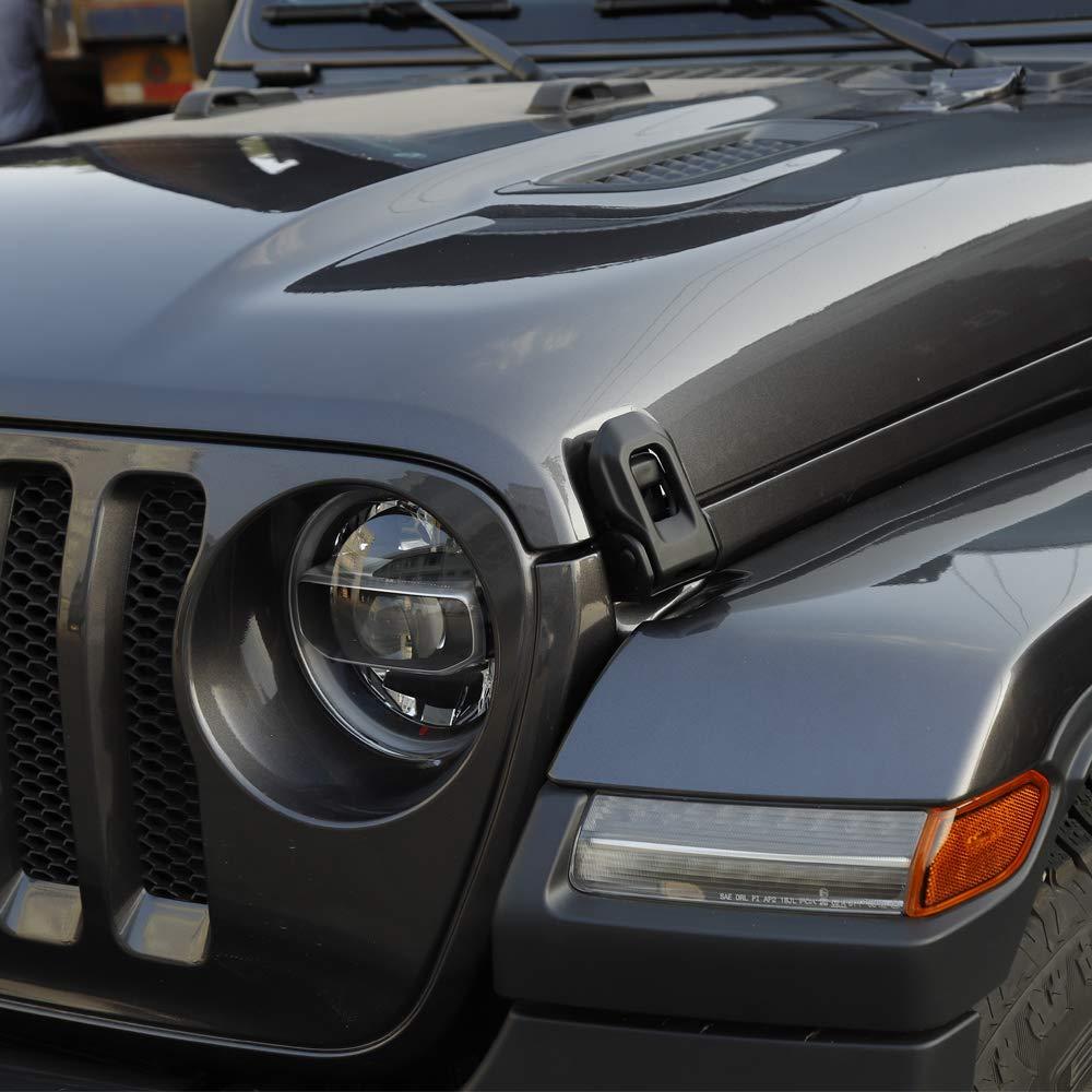 Black JE-Novia JeCar Jeep JL Hood Latch OEM Original Stainless Steel Hood Lock Catch Kit 2018 Jeep Wrangler JL