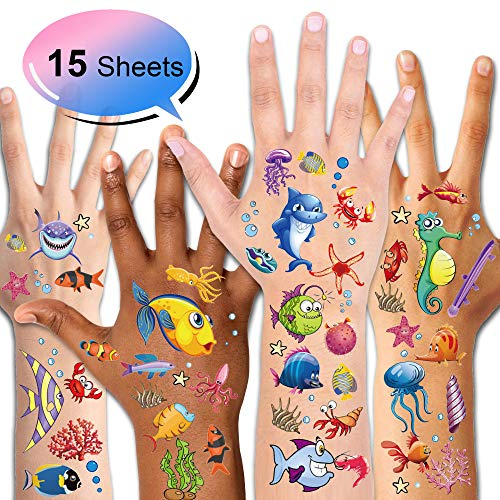 Konsait 15Sheets Tropical Fish Temporary Tattoos for Kids Boys Girls Ocean Sea Children's Birthday Party Bag Filler, Fake Waterproof Tattoo Stickers For Kids Party Decorations Supplies Favors -