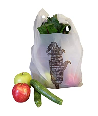 536b8b61d3def Amazon.com: Commit to Green Compostable T-Sack, Shopping Bag, Style: Corn,  SUPER STRONG 1.0 MIL Thick, 500 Bags: E Star Goods