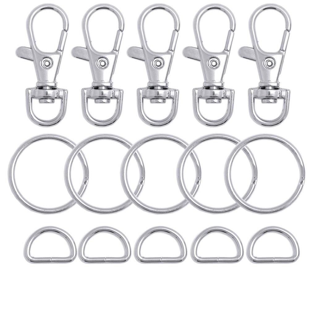 100 piezas de metal giratorio cord/ón gancho con llaveros y anillos D Bulk tama/ño peque/ño