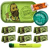 Zig Zag Organic Hemp Metal Rolling Tray, 6 Packs of Zig Zag 1 1/4 Size Organic Hemp Rolling Papers, 78mm Zig Zag Roller, with Acrylic Grinder + Hippie Butler Kewl Tube