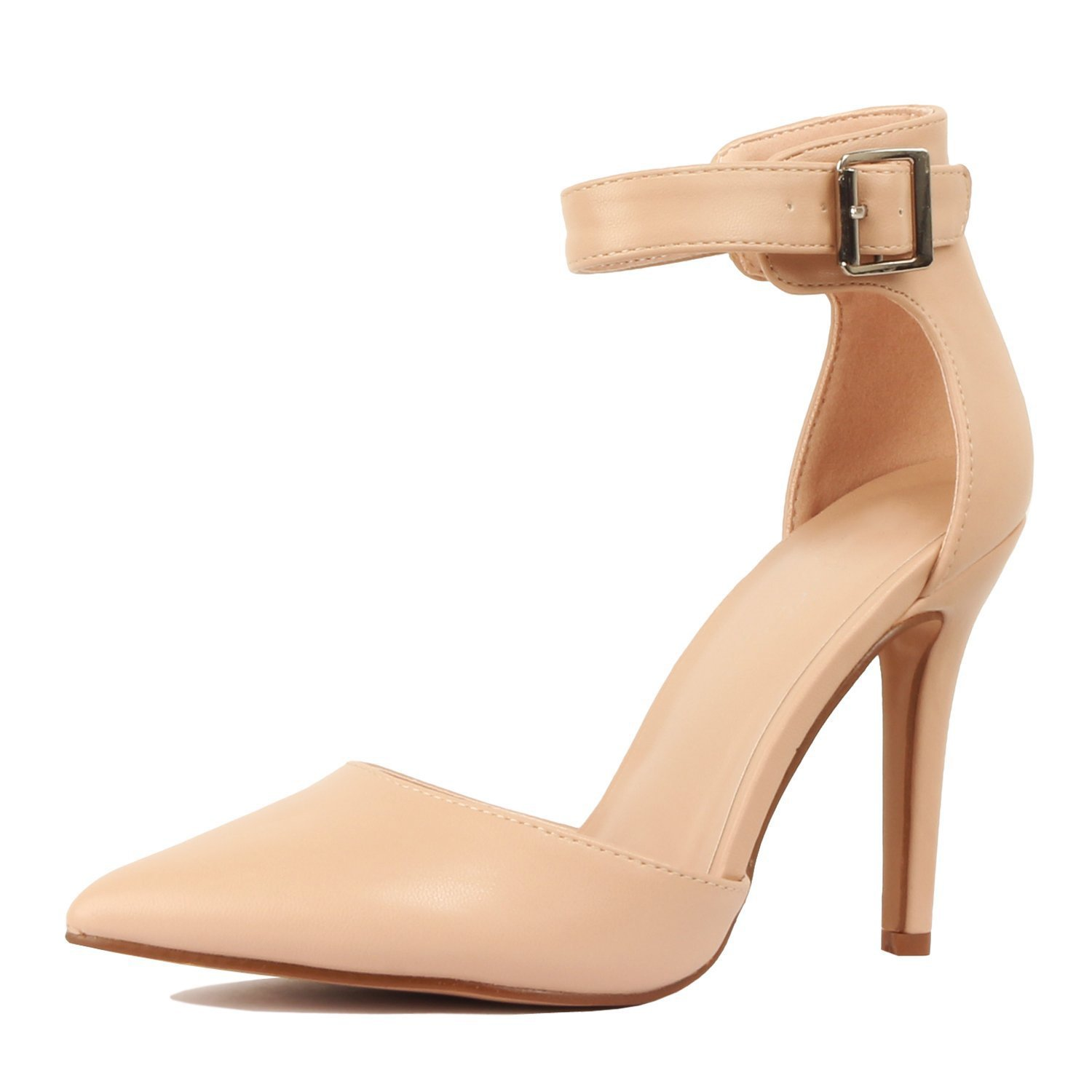 Women's Ankle Strap Stiletto Pumps Pointed Toe Dress D'Orsay High Heel Summer Wedding PU Shoes Nude 7