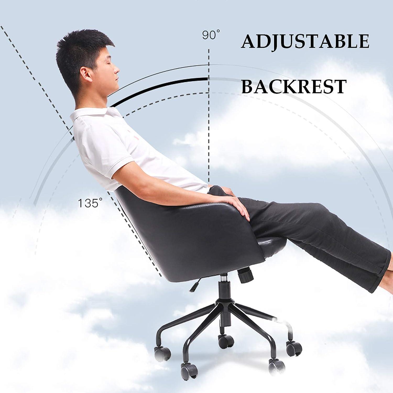 LIYIN Mitt- bak dator skrivbordsstolar PU-läder svängbar ergonomisk kontorsstol 360 grader rotationsstol 96 kg kapacitet Ljusgrå