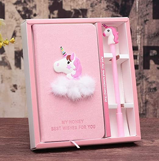 Magic Unicorn Notebook for Kids Unicorn Journal Unicorn Gifts for Girls PinkSheep Unicorn Diary for Girls with Lock and Keys Plush Secret Diary Lined Notebook 300 Pages for Writing and Drawing