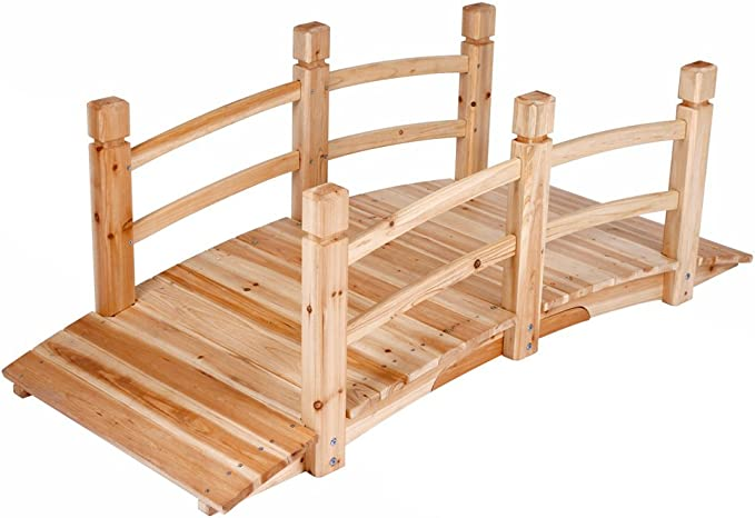 Jago - Puente de madera para jardín o estanque - aprox. 140 x 60 x ...