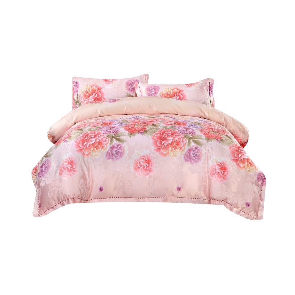 両面ジャカードアロエコットンの結婚式の寝具の赤いベッド4ピースコットンホームテキスタイルシーツキルトカバー枕抗しわピリングが簡単 B07SG3CCPC