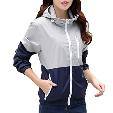 Afkluua Womens Lightweight Windbreakers Sun Protection Outdoor Hooded Sports Outwear Quick Dry Jacket Lovers Coat