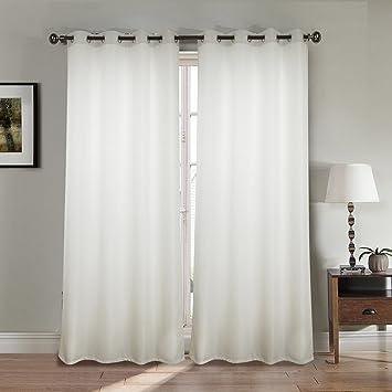 Paire de double rideau aspect lin épais - blanc - Dimensions ...