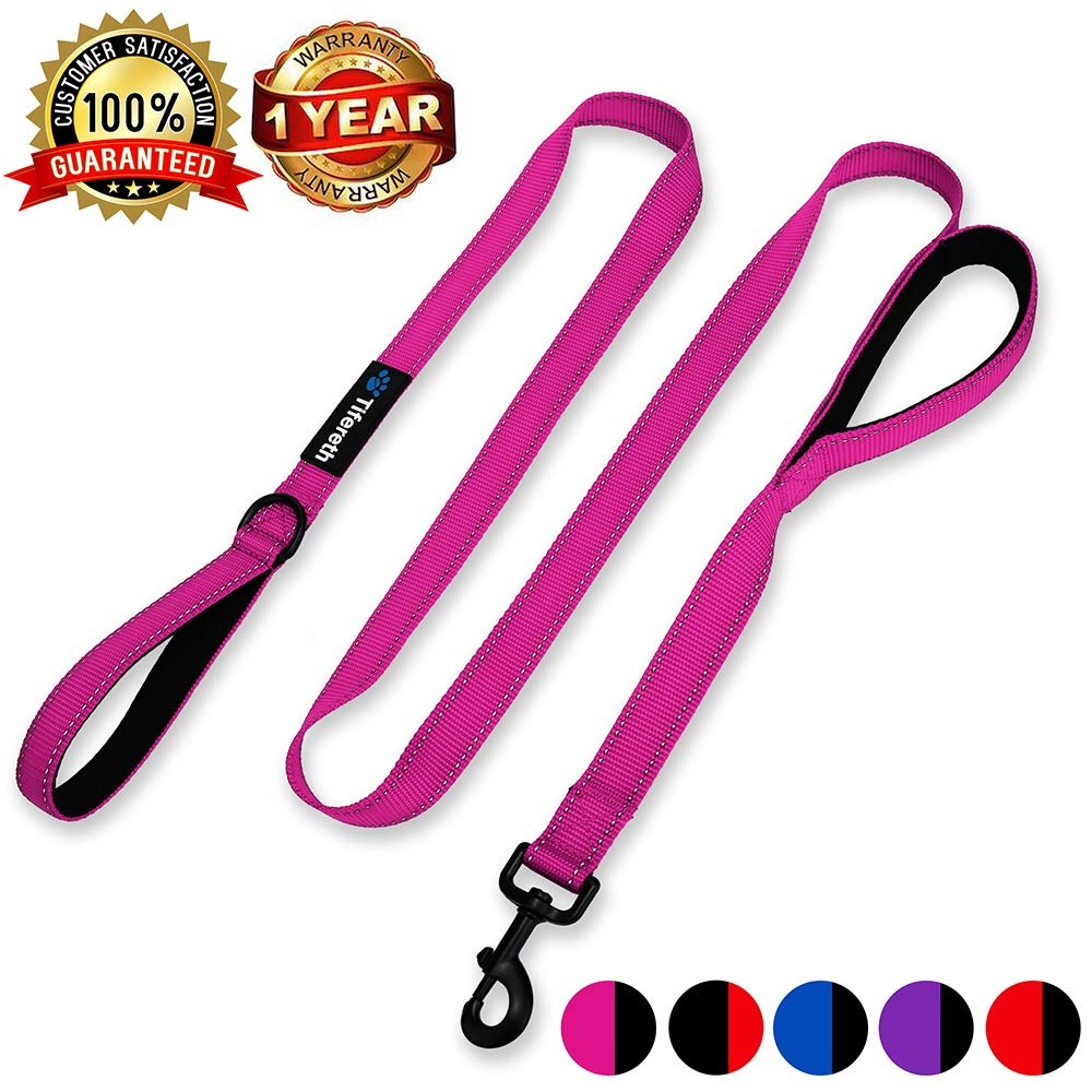 Pink Tifereth Heavy Duty Dog Leash Reflective Nylon Dog Leash 2 Handles Padded Traffic Handle for Extra Control 6 ft Long Perfect for Medium to Large Dogs (Pink)