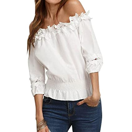 c160b742052ad8 Amazon.com: Casual Blouse for Women, Three Quarter Sleeve Shirts Loose  Striped Patchwork Lace O Neck Tops (White#3, M): Arts, Crafts & Sewing