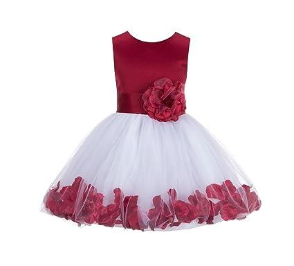 db6149efede9 Amazon.com  Wedding Pageant Rose Petals Flower Girl Dress Tulle ...