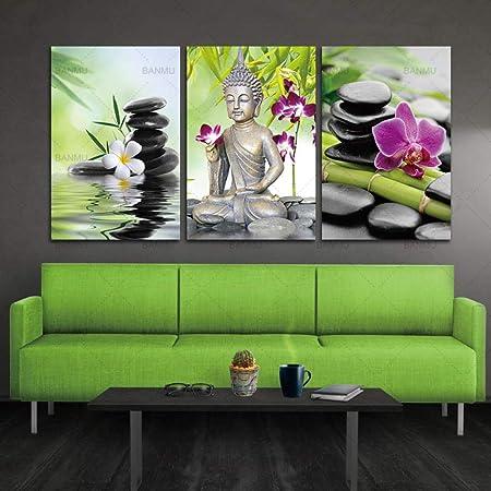 YB Pintura de la Lona Buda Arte de la Pared SPA Zen Stone ...