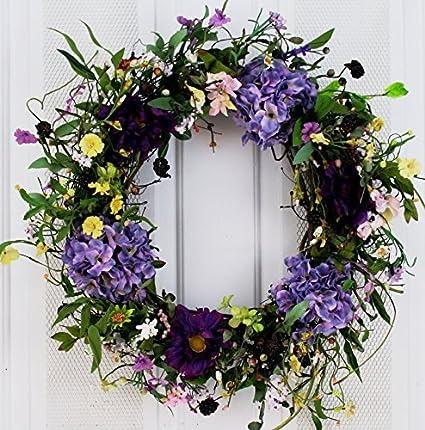 Spring Medley Silk Flower Wreath 22 Inch   Best Seller For Spring And  Summer Front Door