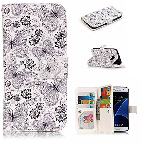 Embossed Circles Blue (S7 Case, Galaxy S7 Wallet Case, Easytop Luxury Embossed Design PU Leather Case Wallet Flip Cover Case with Built-in 9 Card Slots & Stand Magnet Closure for Samsung Galaxy 7 (Butterfly Flower))