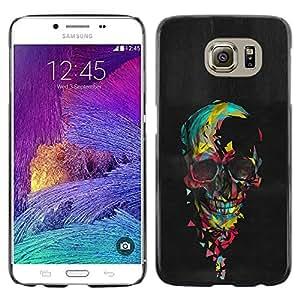 Paccase / SLIM PC / Aliminium Casa Carcasa Funda Case Cover - Skull Colorful Black Paint Heart Pink - Samsung Galaxy S6 SM-G920