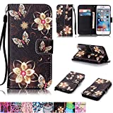 iphone 5 case with can opener - iPhone 6/6S Case,Firefish [Kickstand Feature] Durable Leather Flip Folio Wallet Case with Card Slot and Anti-scratch Protective Cover for Apple iPhone 6/6S-Golden Flower Butterfly