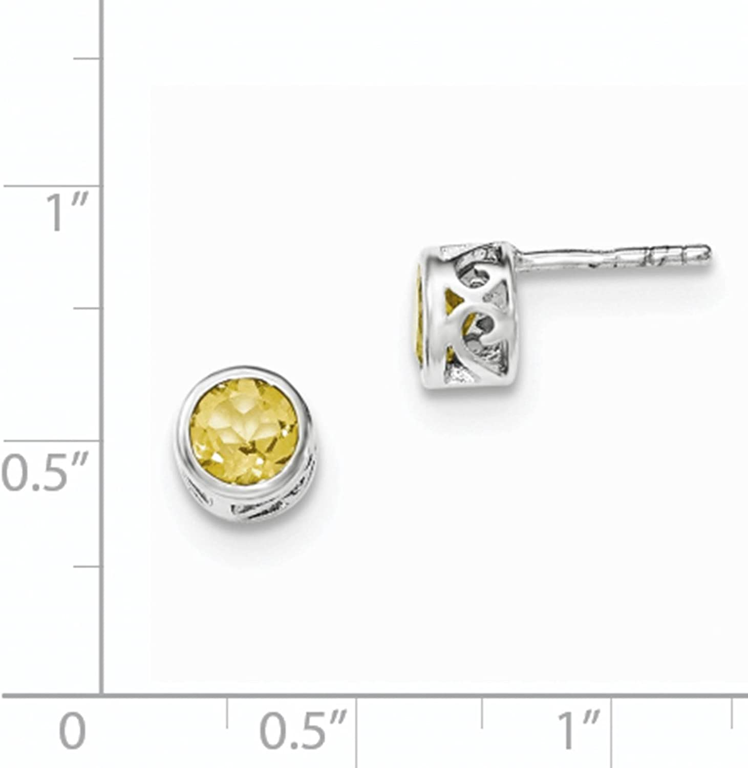 925 Sterling Silver Rhodium-plated Citrine Round Post Earrings
